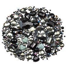Mixed Pack of BLACK Gems and Diamante Embellishments